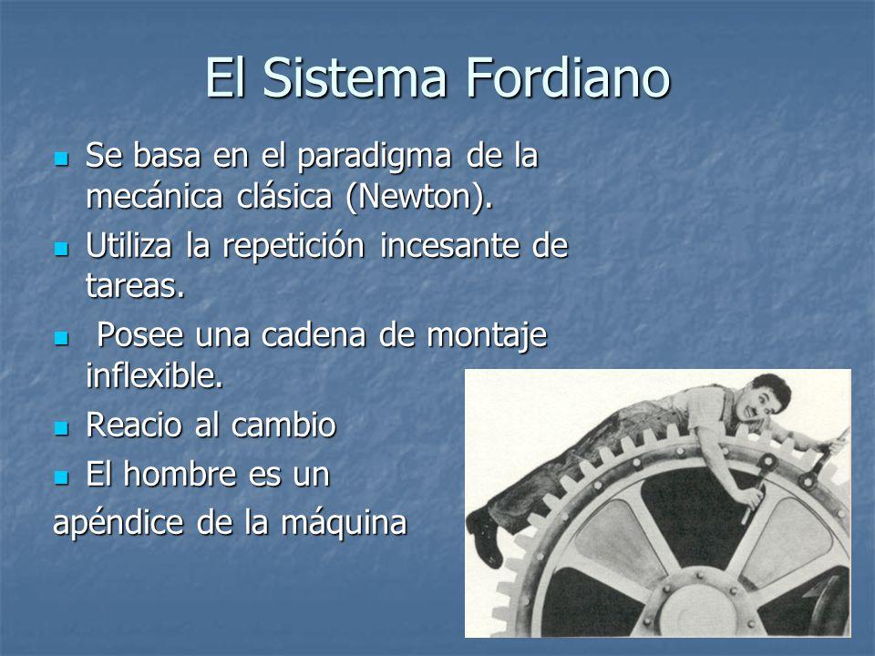 El Sistema Fordiano Se basa en el paradigma de la mecánica clásica (Newton). Utiliza la repetición incesante de tareas.