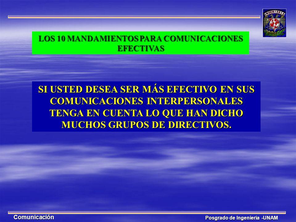 LOS 10 MANDAMIENTOS PARA COMUNICACIONES EFECTIVAS