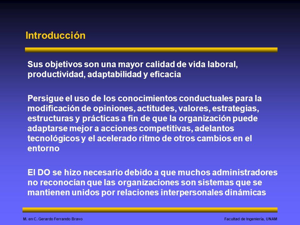 Introducción Sus objetivos son una mayor calidad de vida laboral, productividad, adaptabilidad y eficacia.