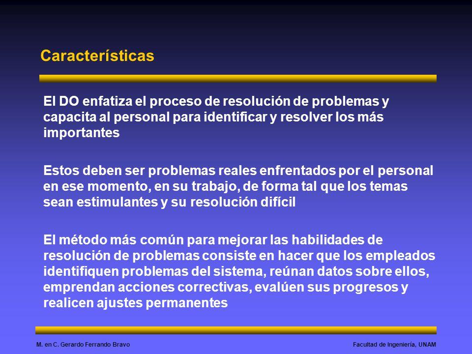 Características El DO enfatiza el proceso de resolución de problemas y capacita al personal para identificar y resolver los más importantes.