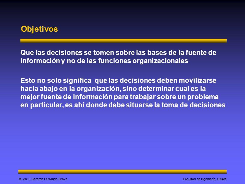 Objetivos Que las decisiones se tomen sobre las bases de la fuente de información y no de las funciones organizacionales.