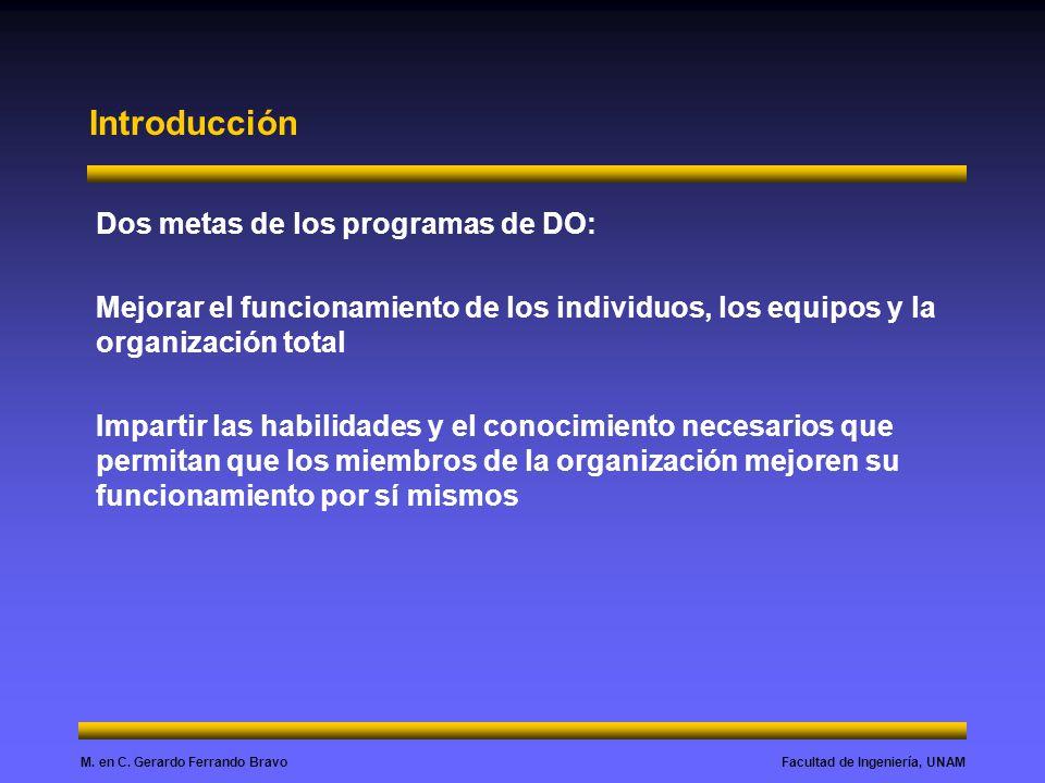 Introducción Dos metas de los programas de DO: