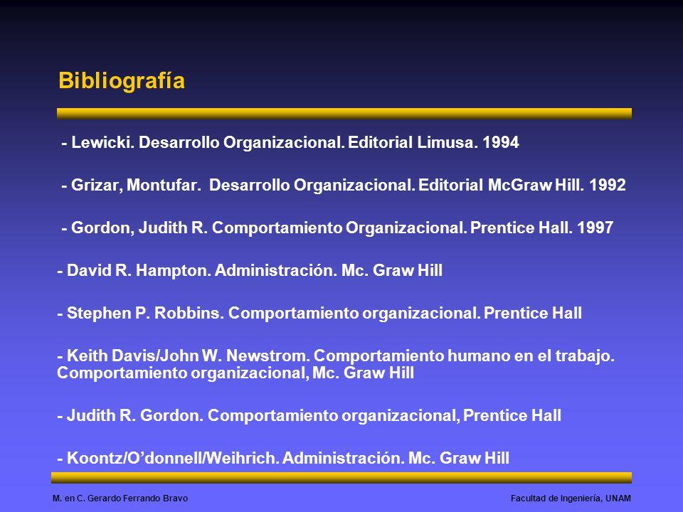 Bibliografía - Lewicki. Desarrollo Organizacional. Editorial Limusa. 1994.