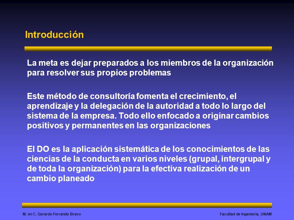 Introducción La meta es dejar preparados a los miembros de la organización para resolver sus propios problemas.