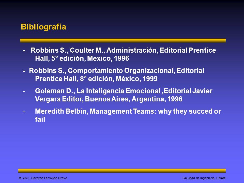Bibliografía - Robbins S., Coulter M., Administración, Editorial Prentice Hall, 5° edición, Mexico, 1996.