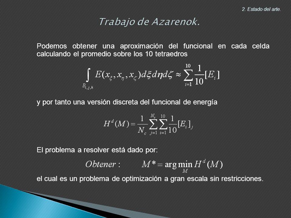 Trabajo de Azarenok. 2. Estado del arte. Podemos obtener una aproximación del funcional en cada celda calculando el promedio sobre los 10 tetraedros.