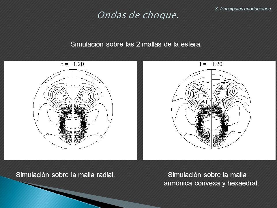 Simulación sobre las 2 mallas de la esfera.