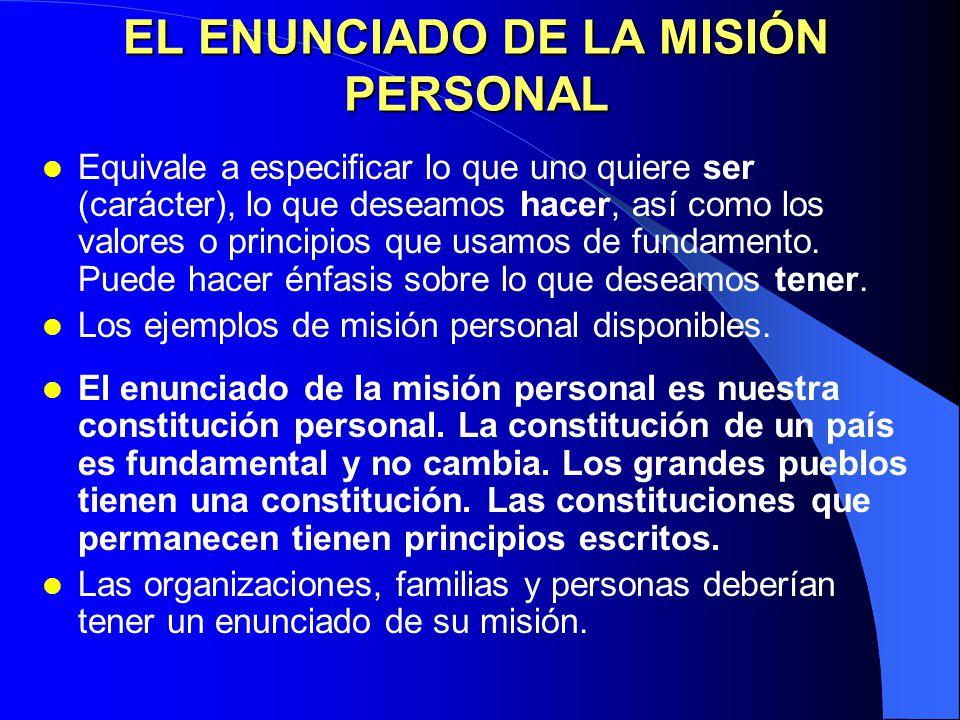 EL ENUNCIADO DE LA MISIÓN PERSONAL