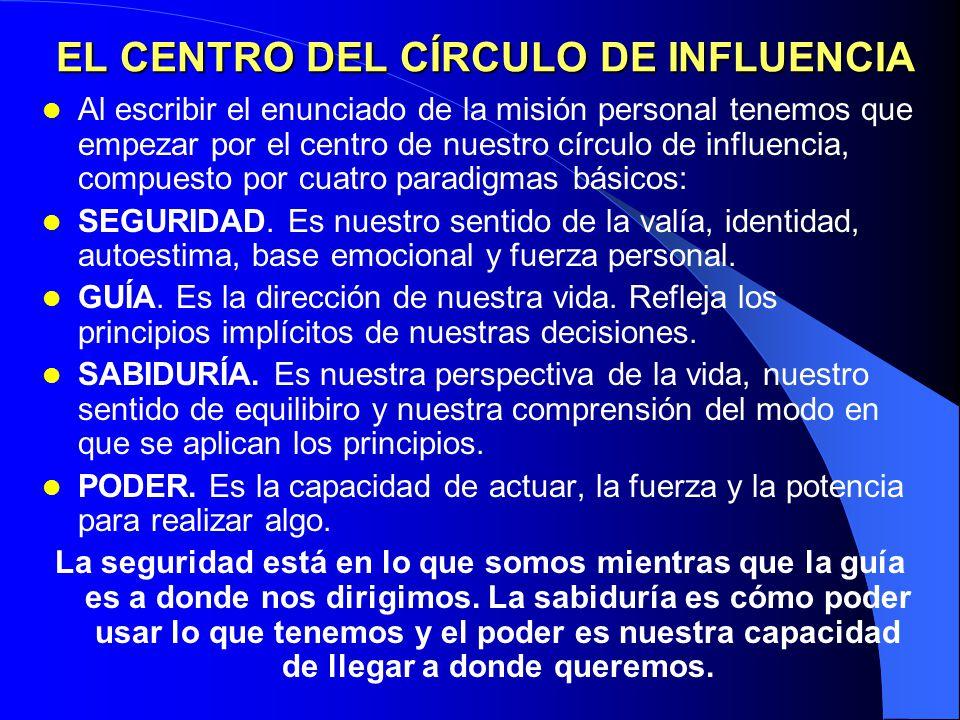 EL CENTRO DEL CÍRCULO DE INFLUENCIA