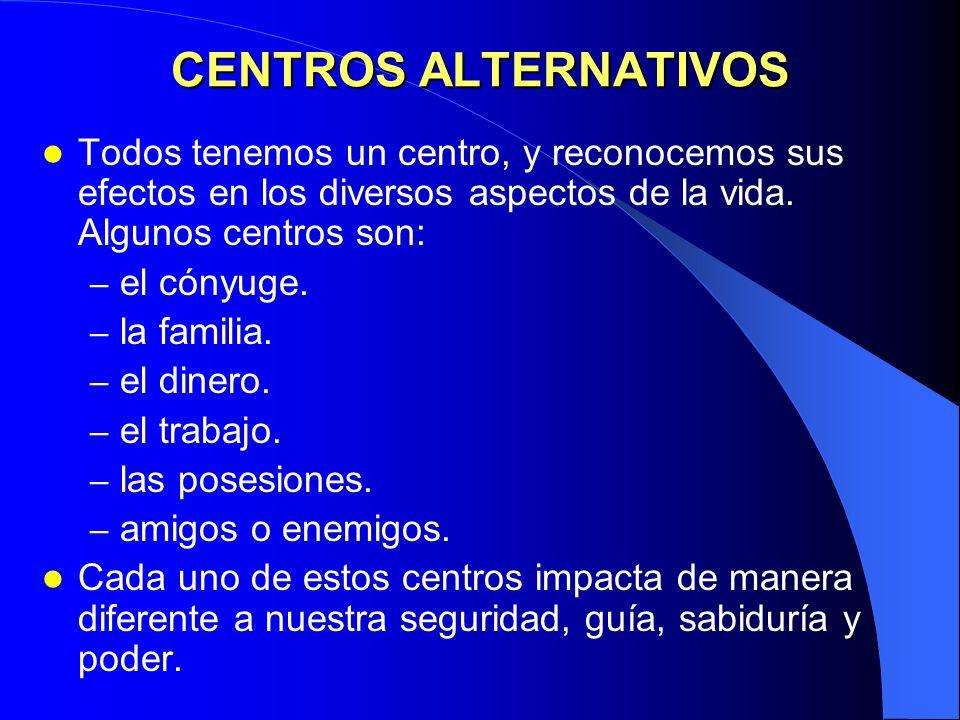 CENTROS ALTERNATIVOS Todos tenemos un centro, y reconocemos sus efectos en los diversos aspectos de la vida. Algunos centros son: