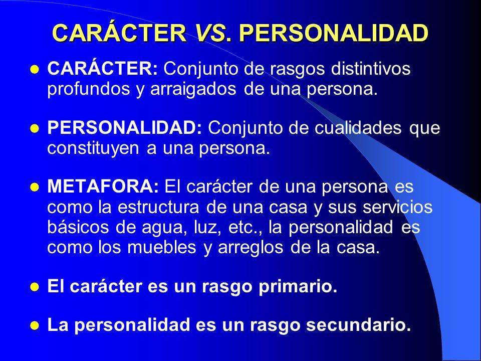 CARÁCTER VS. PERSONALIDAD