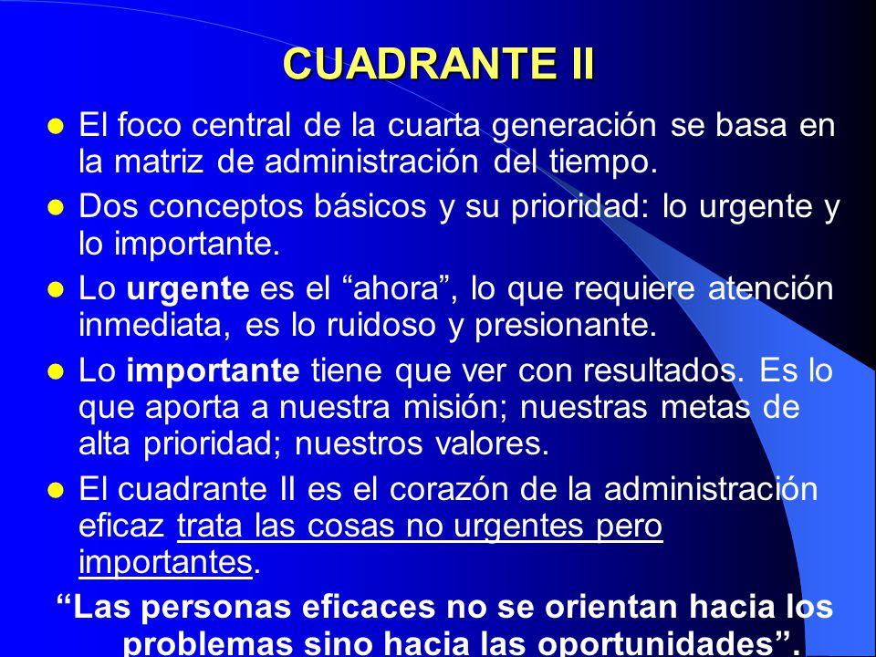 CUADRANTE II El foco central de la cuarta generación se basa en la matriz de administración del tiempo.