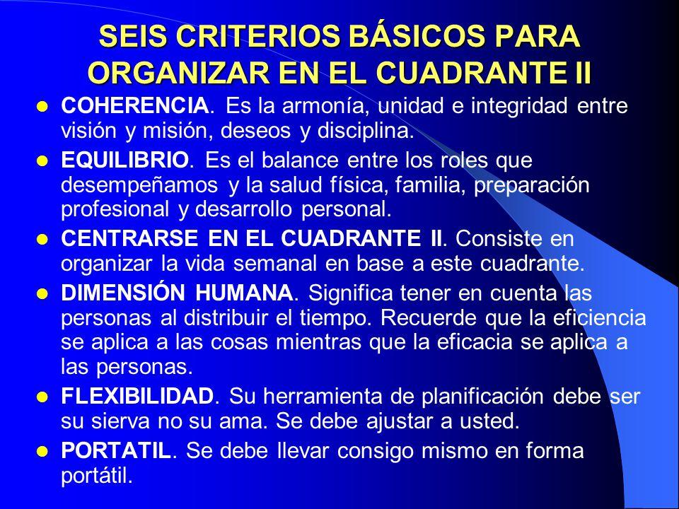 SEIS CRITERIOS BÁSICOS PARA ORGANIZAR EN EL CUADRANTE II