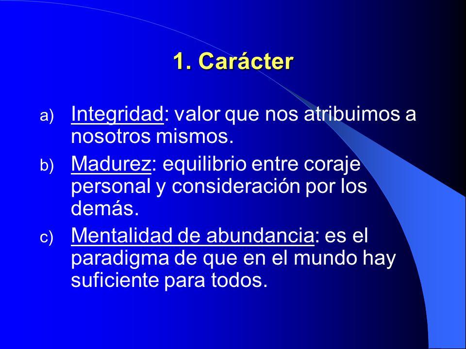 1. Carácter Integridad: valor que nos atribuimos a nosotros mismos.