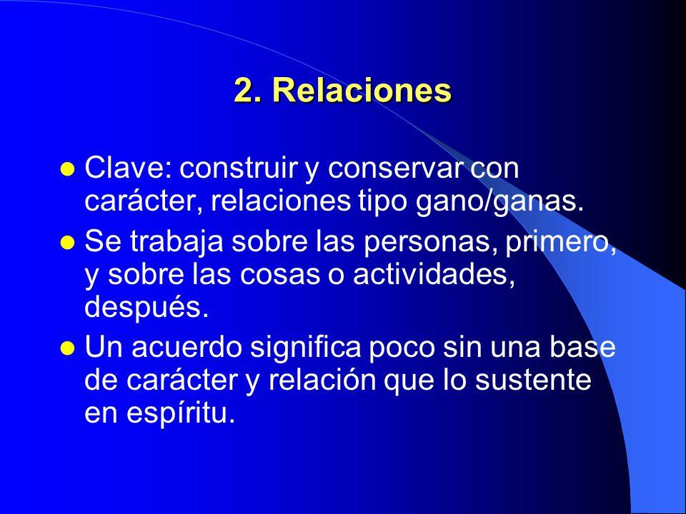 2. Relaciones Clave: construir y conservar con carácter, relaciones tipo gano/ganas.