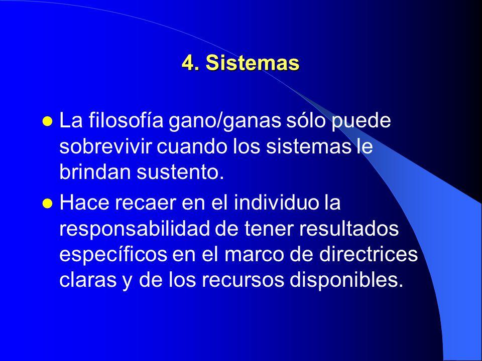4. Sistemas La filosofía gano/ganas sólo puede sobrevivir cuando los sistemas le brindan sustento.