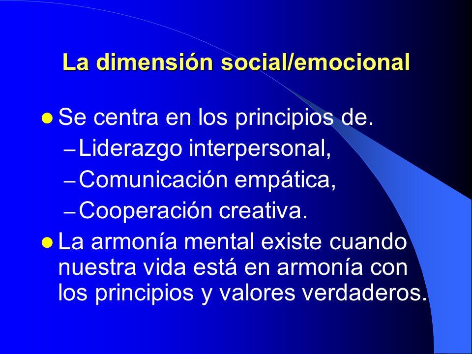 La dimensión social/emocional