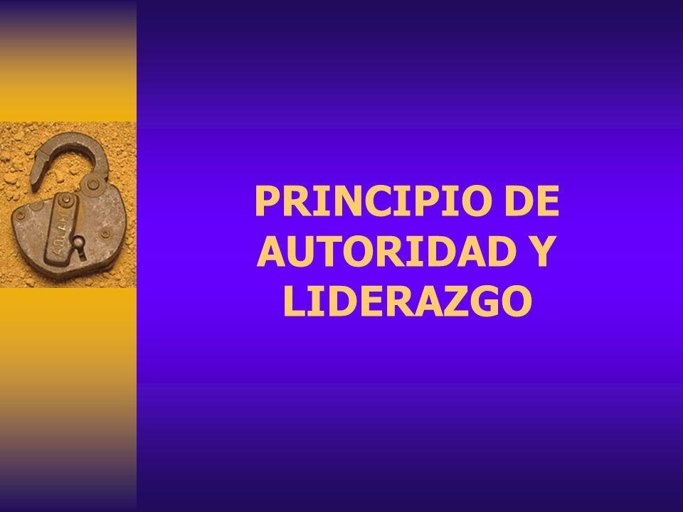 PRINCIPIO DE AUTORIDAD Y LIDERAZGO