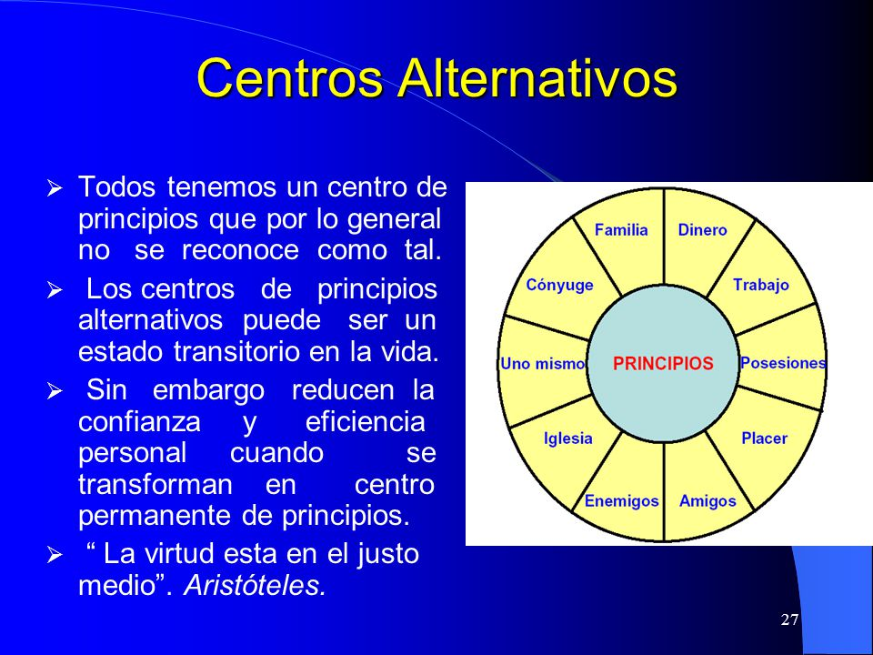 Centros Alternativos Todos tenemos un centro de principios que por lo general no se reconoce como tal.