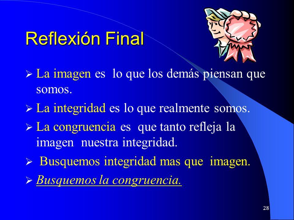 Reflexión Final La imagen es lo que los demás piensan que somos.