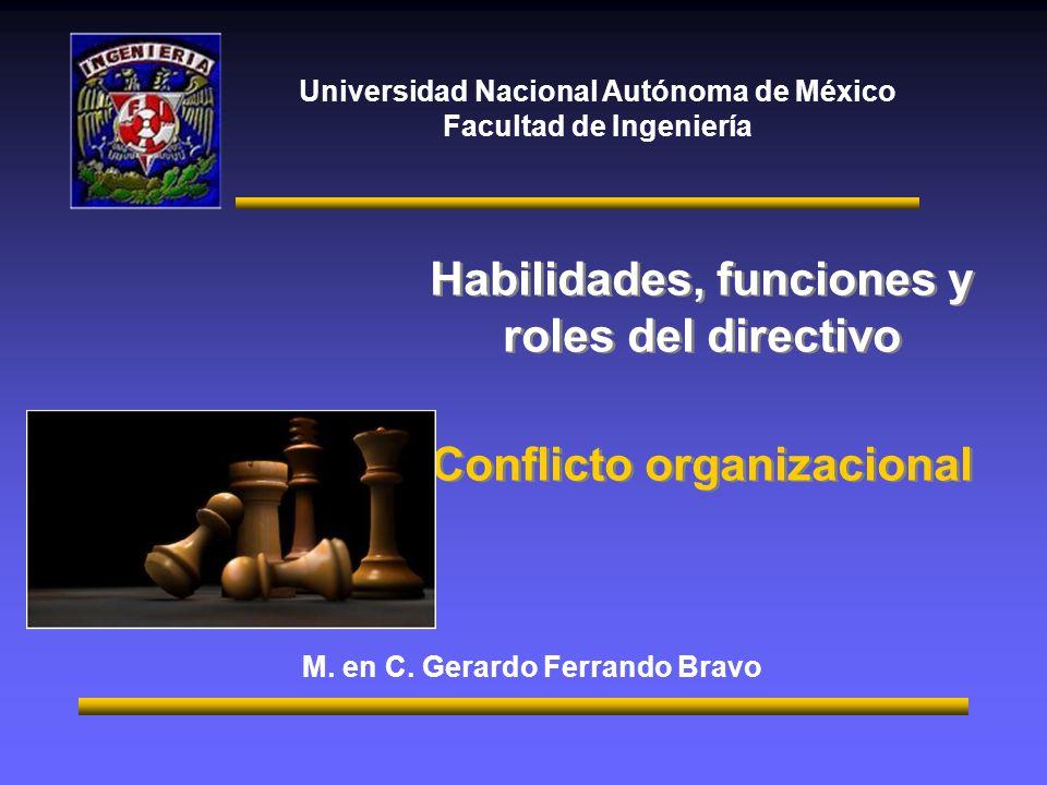 Habilidades, funciones y roles del directivo Conflicto organizacional