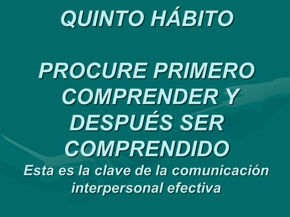 QUINTO HÁBITO PROCURE PRIMERO COMPRENDER Y DESPUÉS SER COMPRENDIDO Esta es la clave de la comunicación interpersonal efectiva