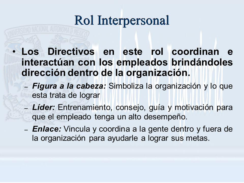Rol Interpersonal Los Directivos en este rol coordinan e interactúan con los empleados brindándoles dirección dentro de la organización.