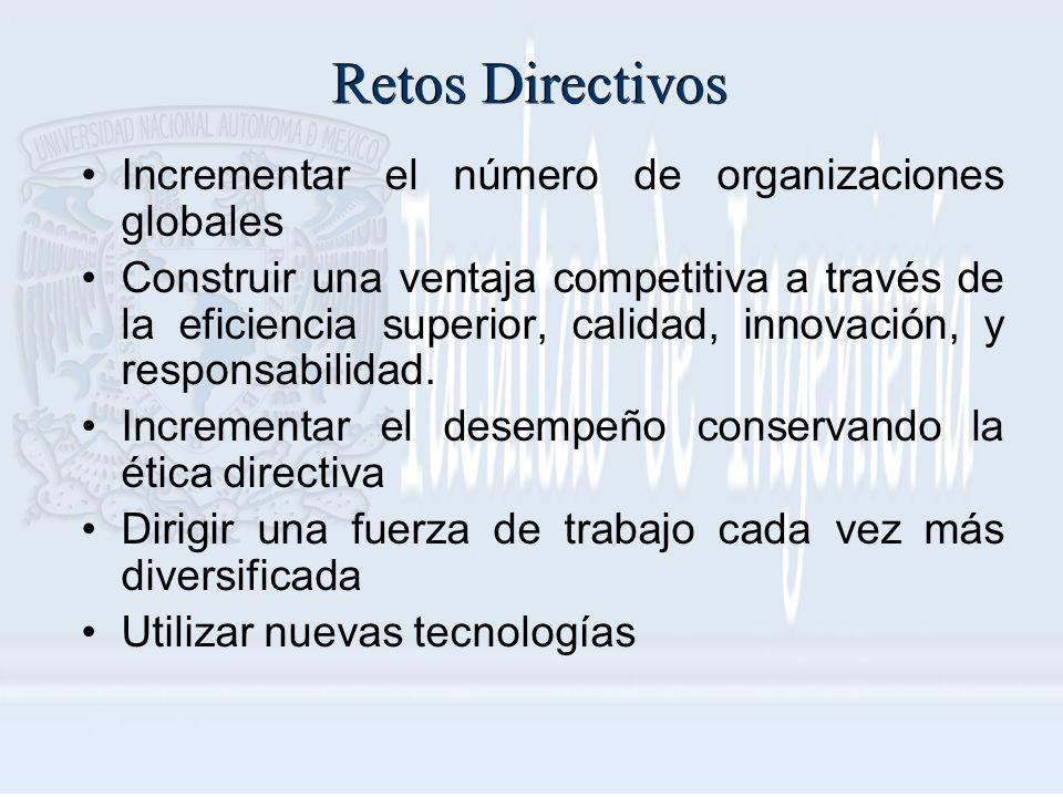 Retos Directivos Incrementar el número de organizaciones globales