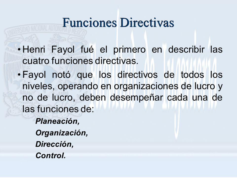 Funciones Directivas Henri Fayol fué el primero en describir las cuatro funciones directivas.