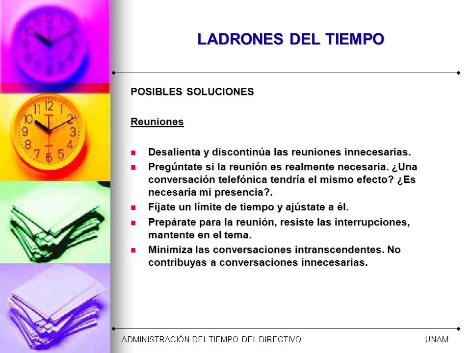 LADRONES DEL TIEMPO POSIBLES SOLUCIONES Reuniones