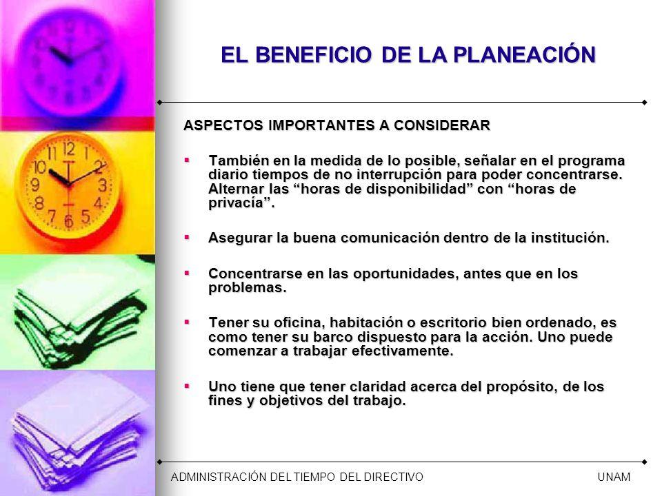 EL BENEFICIO DE LA PLANEACIÓN