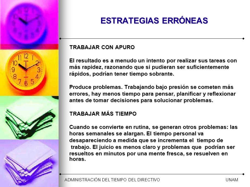 ESTRATEGIAS ERRÓNEAS TRABAJAR CON APURO