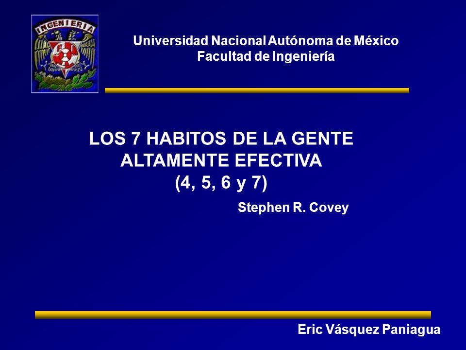 LOS 7 HABITOS DE LA GENTE ALTAMENTE EFECTIVA (4, 5, 6 y 7)
