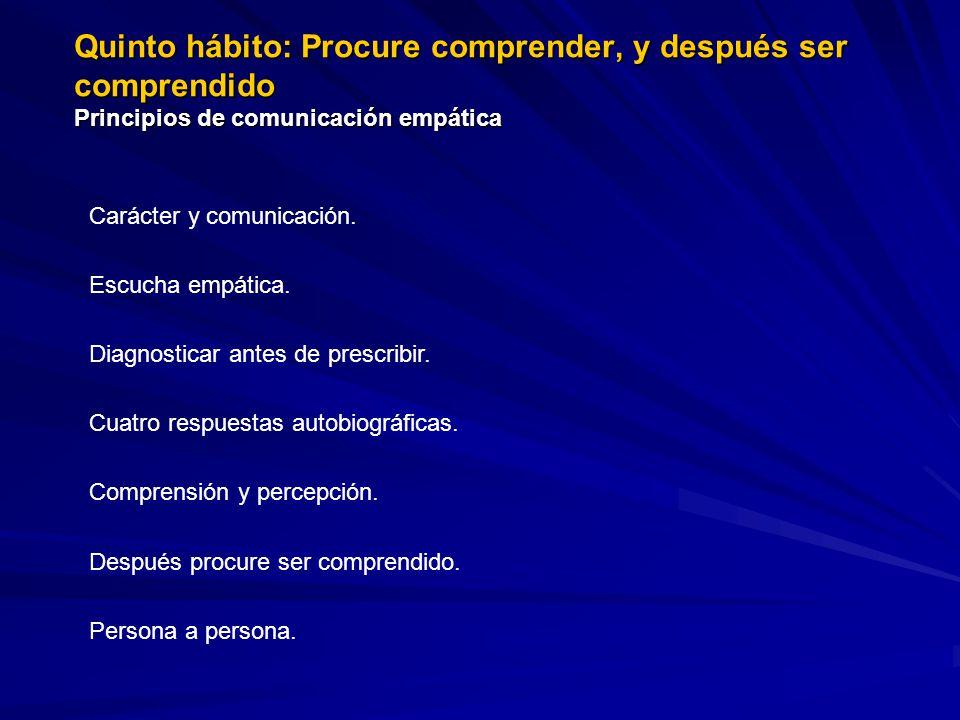 Quinto hábito: Procure comprender, y después ser comprendido Principios de comunicación empática