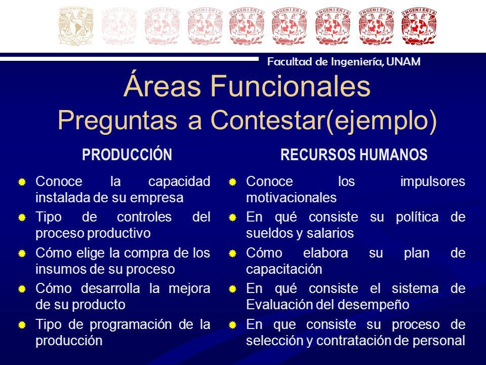 Áreas Funcionales Preguntas a Contestar(ejemplo)