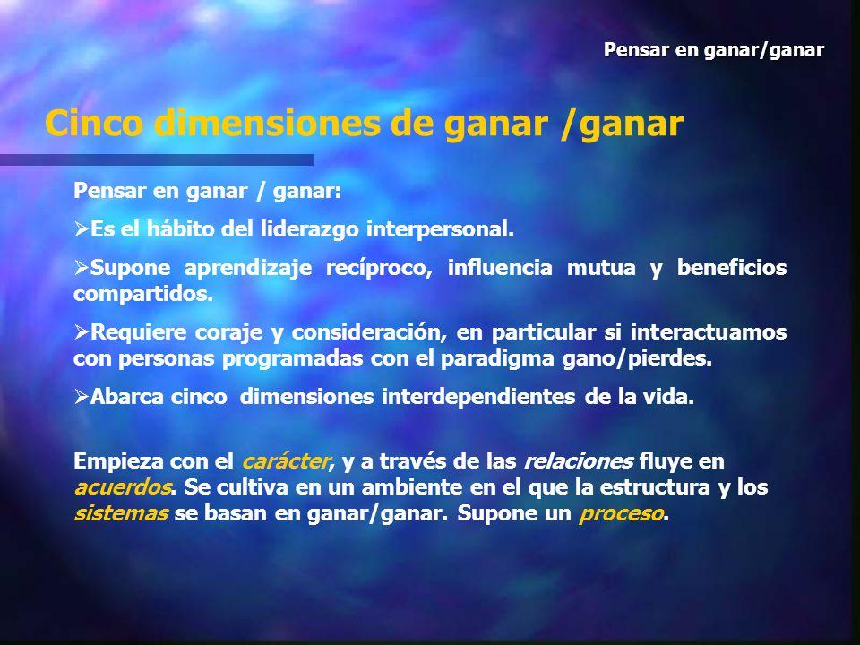Cinco dimensiones de ganar /ganar