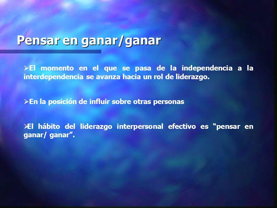Pensar en ganar/ganar El momento en el que se pasa de la independencia a la interdependencia se avanza hacia un rol de liderazgo.