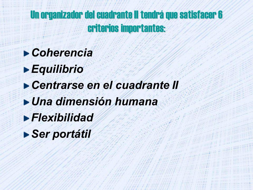 Un organizador del cuadrante II tendrá que satisfacer 6 criterios importantes: