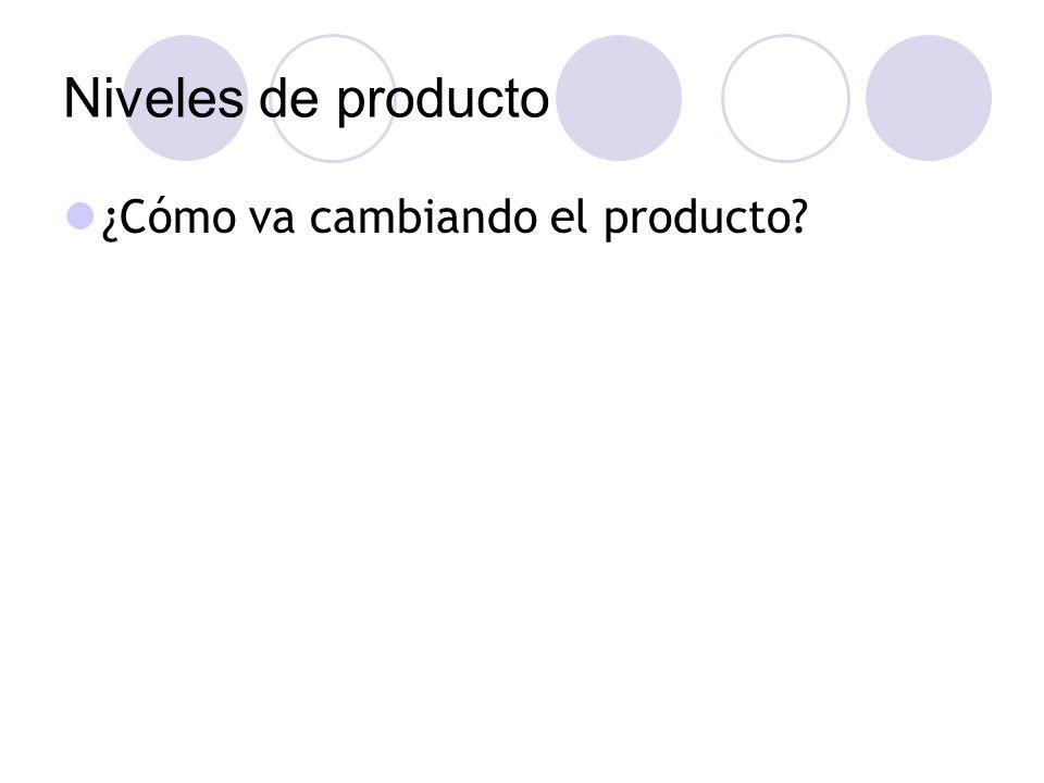 Niveles de producto ¿Cómo va cambiando el producto