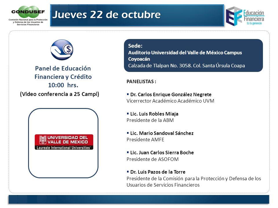 Panel de Educación Financiera y Crédito (Video conferencia a 25 Campi)