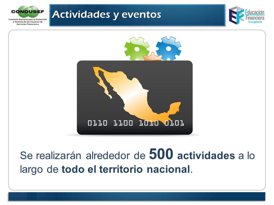 Actividades y eventosSe realizarán alrededor de 500 actividades a lo largo de todo el territorio nacional.