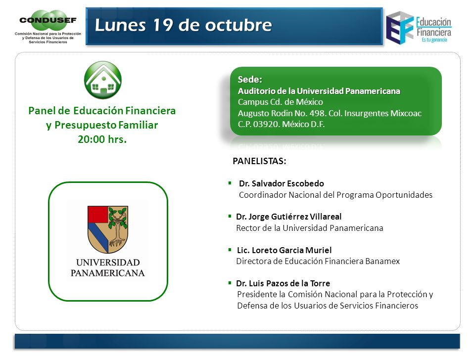 Panel de Educación Financiera y Presupuesto Familiar