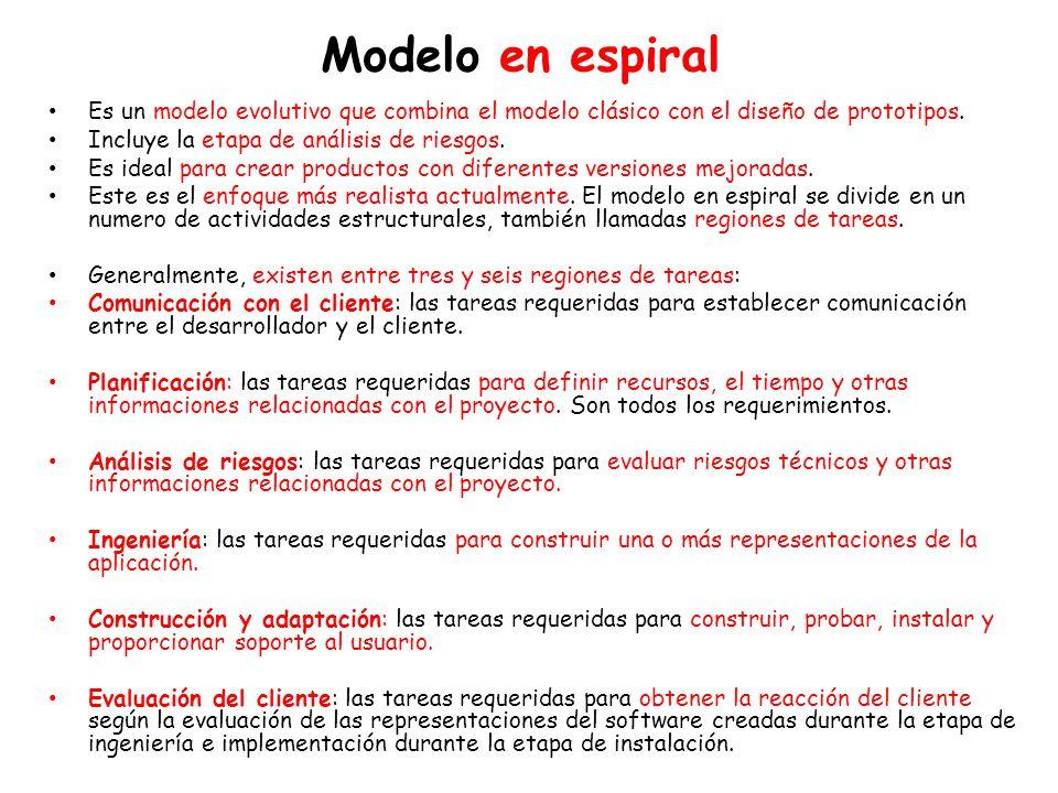 Modelo en espiral Es un modelo evolutivo que combina el modelo clásico con el diseño de prototipos.