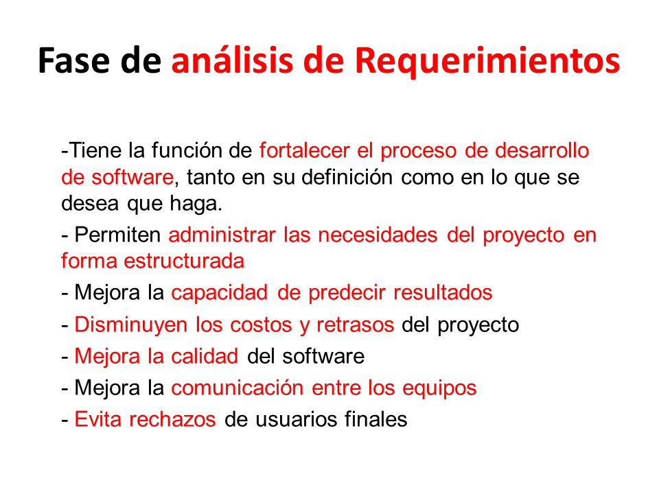 Fase de análisis de Requerimientos