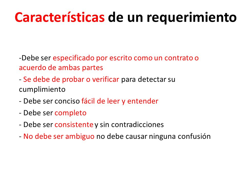 Características de un requerimiento