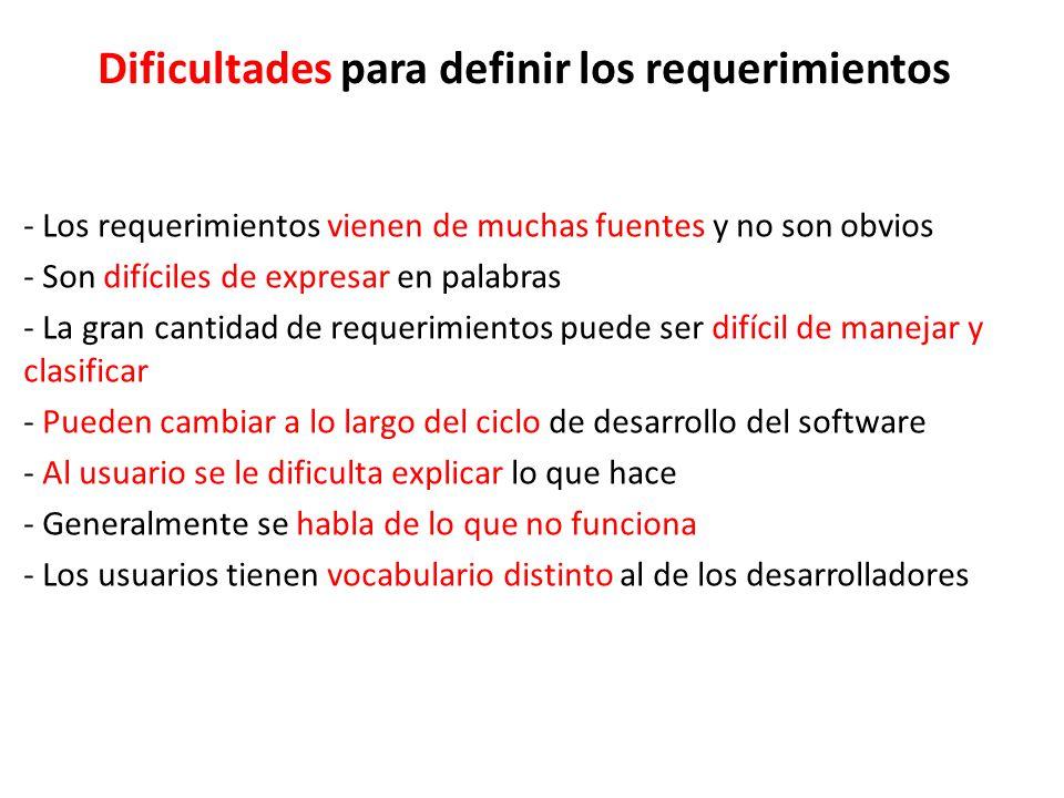 Dificultades para definir los requerimientos