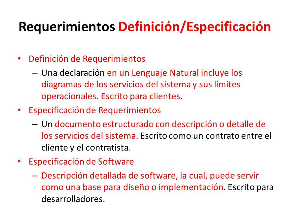 Requerimientos Definición/Especificación