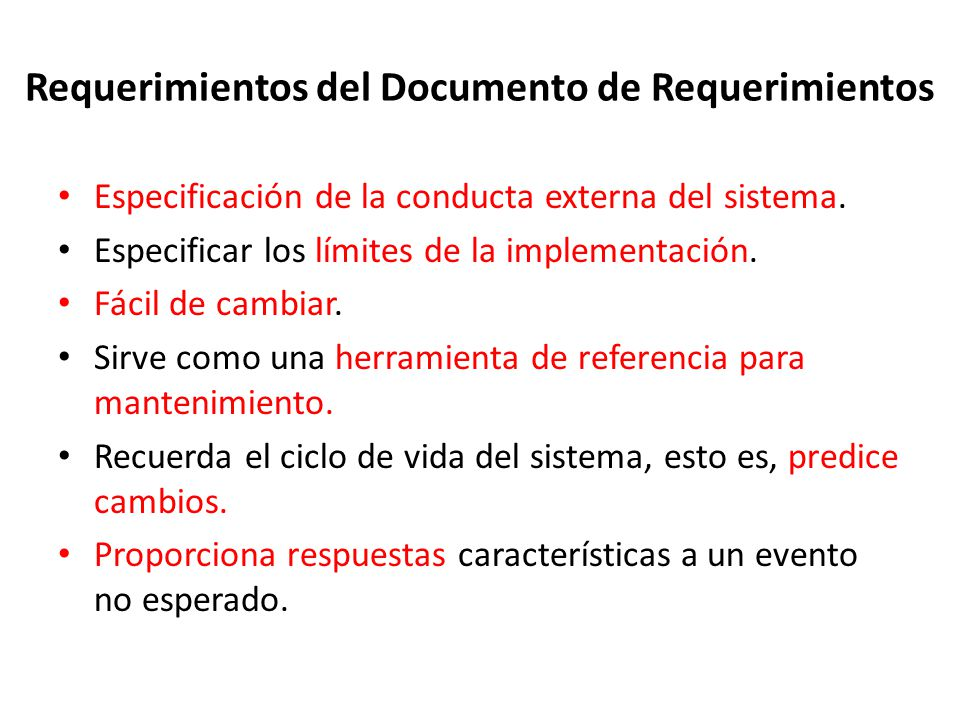 Requerimientos del Documento de Requerimientos