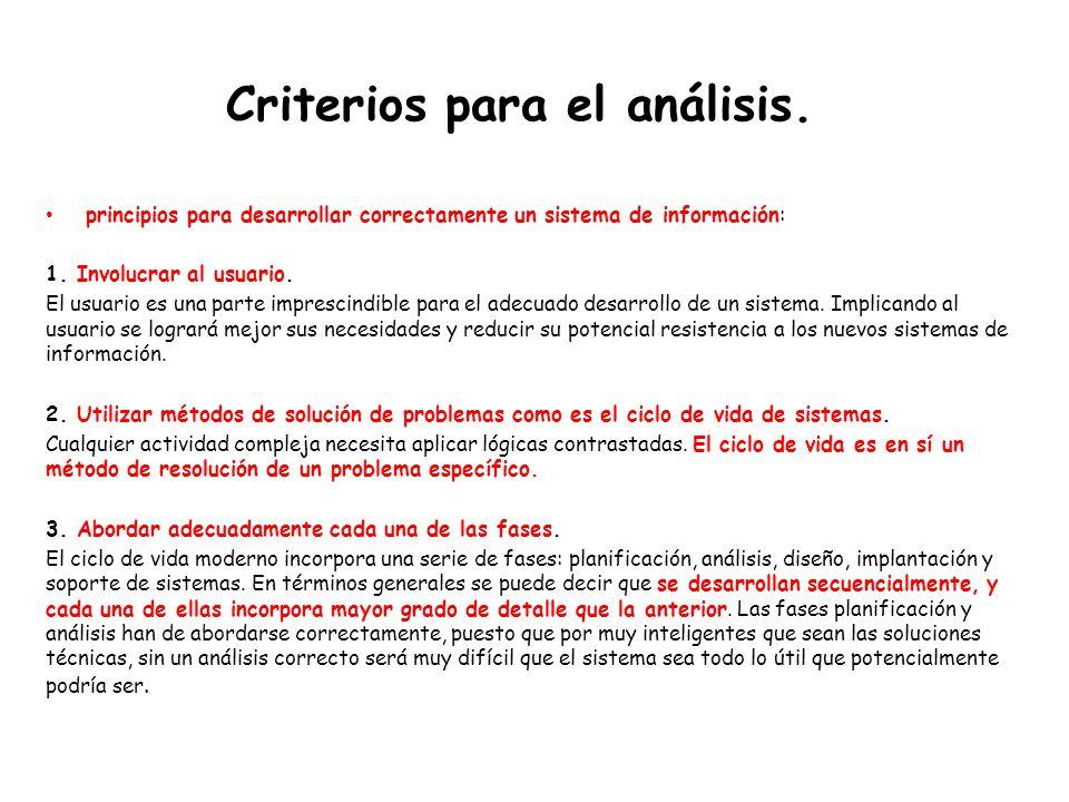 Criterios para el análisis.