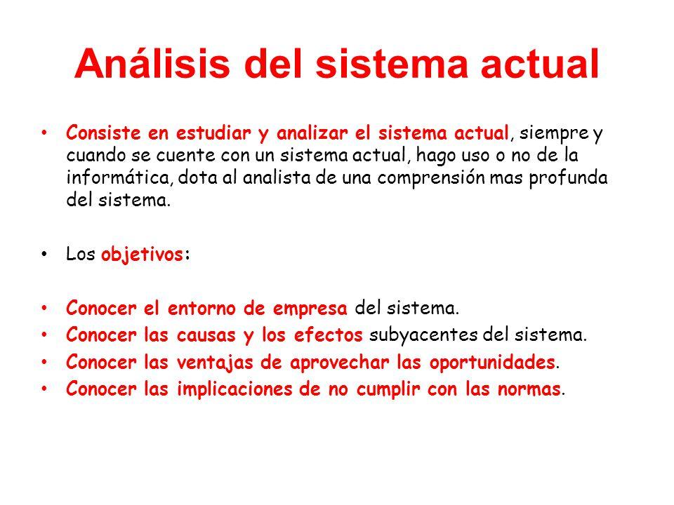 Análisis del sistema actual